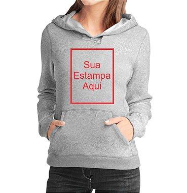 Moletom Feminino Personalizado - Blusa Casaco Canguru Blusão Jaqueta Moletons Personalizados Customizados Frente Cinza Claro