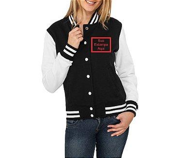 Jaqueta College Feminina Personalizada Americana Colegial Baseball - Blusas Casacos Moletons Personalizados Customizadas Criar Customizar Personalizar Faça Personalização Fazer Montar Estampar Personalizando Estilizada Estamparia Online