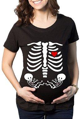 Camiseta Feminina Rendada Gestante Raio X Gêmeos - Frases Engraçadas Grávidas Personalizadas / Customizadas / Estampadas / Camiseteria / Estamparia / Estampar / Personalizar / Customizar / Criar / Camisa T - shirts Blusas