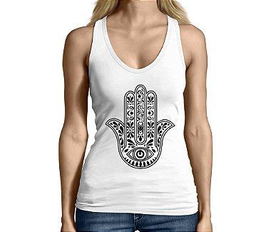 Camiseta Regata Feminina Hamsá Mão de Fátima - Personalizadas / Customizadas / Camiseteria / Camisa T - shirts Baratas Modelos Legais Loja Online