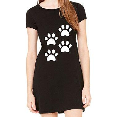 Vestido Curto da Moda Feminino 4 Quatro Patas Dog Pets - Simples para o Dia a Dia Básico de Malha Estampado Modelos Lindos e Baratos em Preto e Cinza Verão Comprar Loja Online Site Promoção Vestidos Casuais Preto