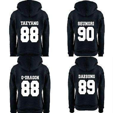 Moletom Feminino Kpop Banda Big Bang Integrantes Daesung G - Dragon Seungri Taeyang Top K - pop - Moletons Blusa de Frio Casacos Baratos Blusão Canguru Loja Online Seungri