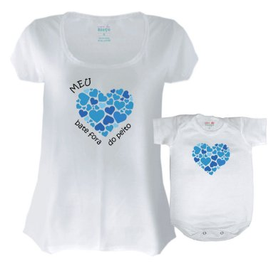 Mamãe e Bebê Coração Fora do Peito ( Azul ) Body - G M