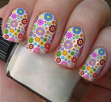 Película Adesivo de Unha - Pequenas Flores Coloridas