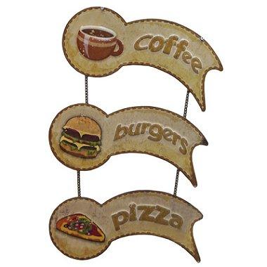 Placa Decorativa de Metal Coffee - Burgers - Pizza - 53x33x3cm