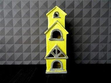 Casa Três andares Amarela - 40x10x13cm