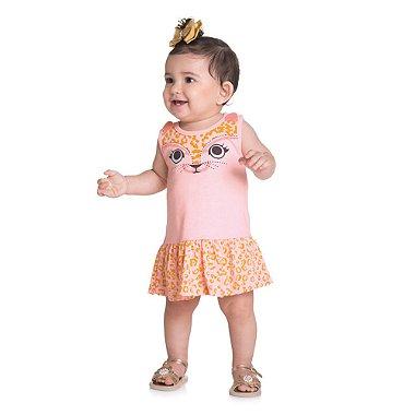 Vestido Infantil de Meia Malha Modelo Regata Gatinha