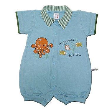 Macacão Curto com Gola de Tecido Azul para Menino