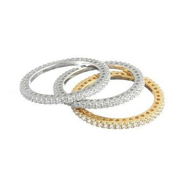 Trio De Alianças Inteiras Prata 925 Folheadas a ouro e rodinadas