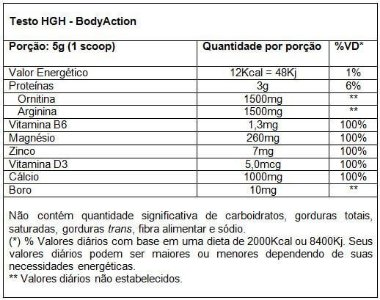 Tabela Nutricional Testo HGH Body Action