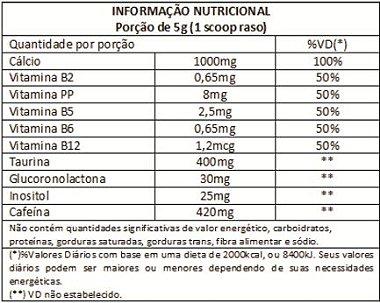 Tabela Nutricional Start Pre Workout Bodyaction