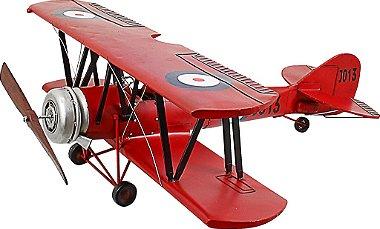 Miniatura Avião Vermelho com Asas Duplas - Oldway