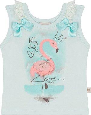 Blusa para Bebê sem Manga com Estampa de Flamingo e Renda Azul Claro Azul