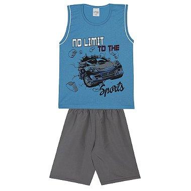 Conjunto Infantil Camiseta Regata em Meia Malha No Limit Azul e Bermuda em Tactel Cinza Azul