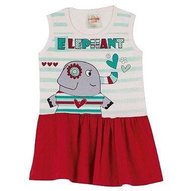 Vestido em Cotton Elefante Marfim Vermelho Vermelho M
