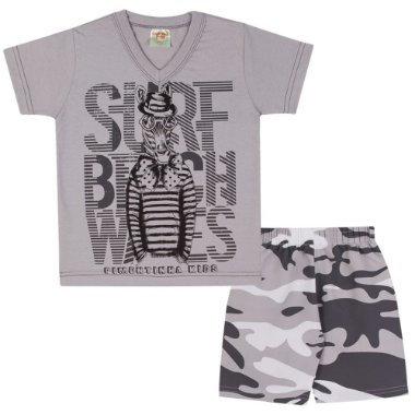 Conjunto Camiseta Surf em Meia Malha e Bermuda Tactel Estampado Cinza Claro Grafite