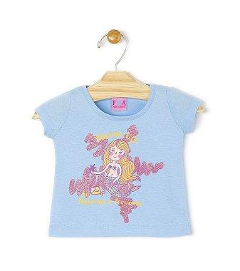 Conjunto Blusa Sereia Azul + Saia Pink Azul P
