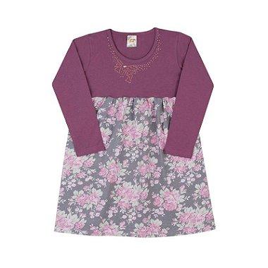 Vestido em Cottom Estampado Púrpura