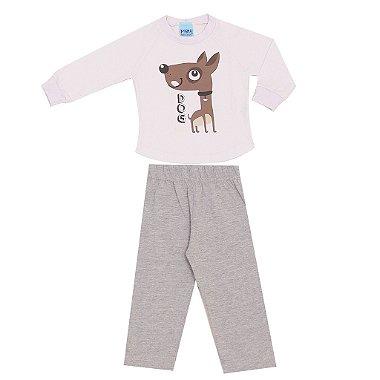 Pijama Blusa Meia Malha Dog Branco + Calça Cinza