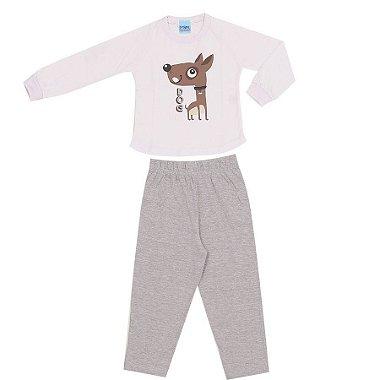 Pijama Meia Malha Dog Branco + Calça Cinza