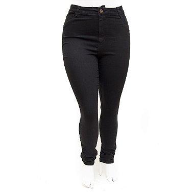Calça Jeans Preta Feminina Plus Size Cintura Alta Helix com Tecido Sarja