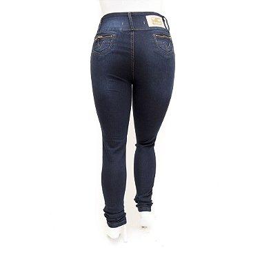 Calça Jeans Feminina Plus Size Cintura Alta Azul Escura Legging Credencial