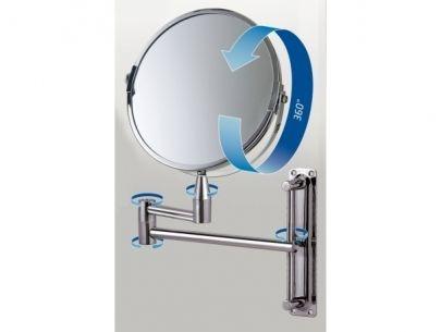 Espelho Aumento Dupla Face Articulado de Parede Aço Inox