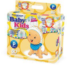 Fralda Infantil Descartável Baby Kids - P - 80 unidades