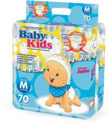 Fralda Infantil Descartável Baby Kids - M - 70 unidades