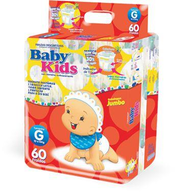 Fralda Infantil Descartável Baby Kids - G - 60 unidades