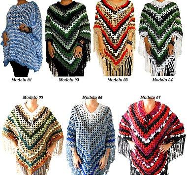 Poncho Lã Importada Casaco Cores Variadas Modelo 01
