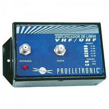 Amplificador de Linha VHF / UHF 30dB Bivolt PROELETRONIC