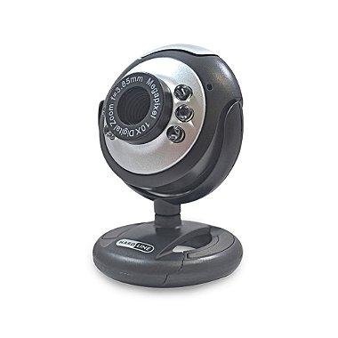 Webcam HARDLINE 6809 USB preto e prata com 6 leds