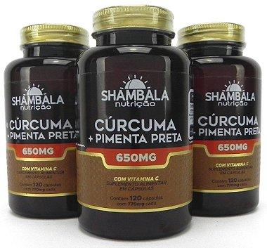 Kit com 3 Curcuma com Pimenta Preta em Pote 120 Caps cada – Shambala
