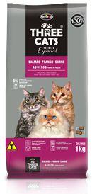 Ração Hercosul Three Cats Premium Especial Salmão, Frango e Carne para Gatos Adultos 15kg