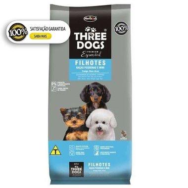 Ração Three Dogs Especial para Cães Filhotes Raças Pequenas e Mini - Frango, Ovos e Arroz