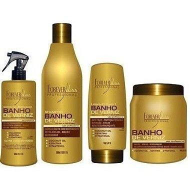 Forever Liss - Kit ( Shampoo 500ml + Queratina 300 + Leave in 150ml + Banho de Verniz 1kg )