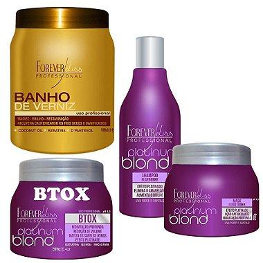 Banho De Verniz Hidratação+botox Platinum 250+shampo+mascara