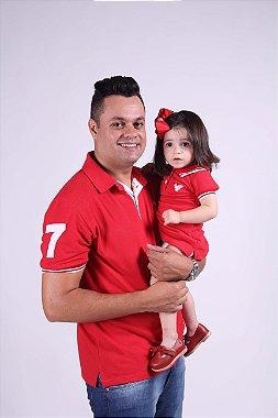 PAI E FILHA Kit Pólo Adulta e Infantil Vermelhas ( Coleção Tal Pai Tal Filho ) M 4