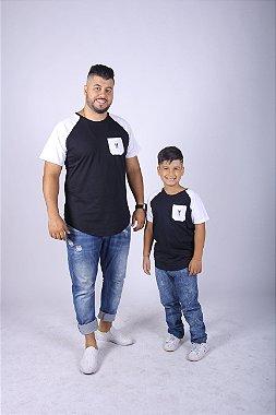 PAI E FILHO Camiseta Raglan Long Preta com Bolso Branco ( Coleção Tal Pai Tal Filho ) M 8