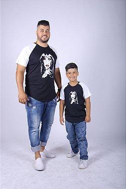 PAI E FILHO Kit 02 Camisetas Raglan Long Pretas com Mangas Brancas ( Coleção Tal Pai Tal Filho ) P 1