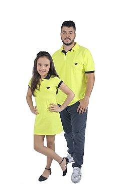 PAI E FILHA Kit Polo e Vestido Amarelo ( Coleção Tal Pai Tal Filho ) M 6