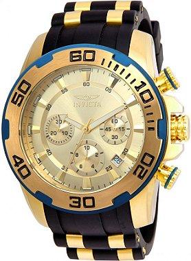 Relógio Invicta Masculino Novo Pro Diver Fundo Dourado Modelo 22345