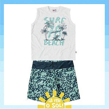 Conjunto Camiseta Regata e Bermuda de Tactel Surf Kiko e Kika