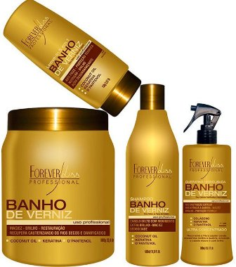 Forever Liss - Banho de Verniz Kit Reconstrução de Brilho ( Shampoo 500ml + Queratina 300 + Leave in 150ml + Banho de Verniz 1kg )