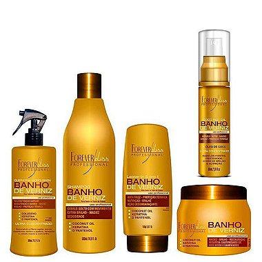 Forever Liss - Banho de Verniz Kit Completo Shampoo 500ml + Queratina 300ml + Leavein 150ml + Máscara 250g + Óleo de coco 60ml
