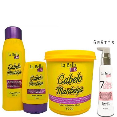 La Bella Liss - Cabelo Manteiga Kit Shampoo 500ml + Leave - in 150g + Máscara 950g GRÁTIS 7 Dias Liss*