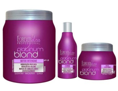 Forever Liss - Platinum Blond Kit Loira Poderosa ( Redutor de Volume 1kg + Shampoo e Máscara Blueberry )
