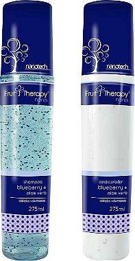 Left - Fruit Therapy Nano Blueberry e Aloe Vera Kit Shampoo e Condicionador Cabelos Volumosos 275ml