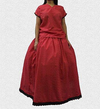 Conjunto feminino de lasie vermelho M